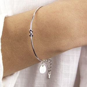 Personalised Silver Knot Bangle Bracelet