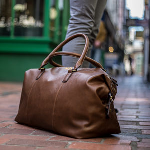 Personalised Weekend Holdall In Black Or Brown - gifts for him
