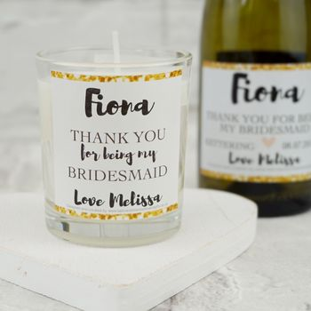 Thank You For Being My Bridesmaid Votive Gold Candle