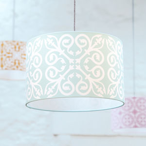 Moroccan Tile Lampshade In Duck Egg Blue