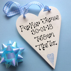 Personalised Baby's Message Heart - hanging decorations
