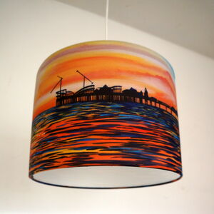 Seaside Sunset Painting Drum Lampshade