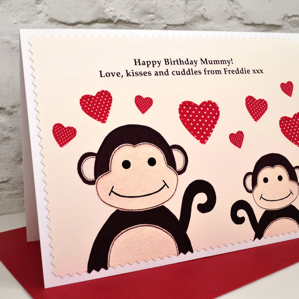 Personalise The Card For A Special Mummy Daddy Mum Dad Nanny Monkeys Personalised Birthday From Baby