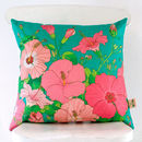 Tropical Hibiscus Cotton Cushion Cover