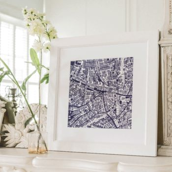 Brixton, London Framed Illustrated Map Print