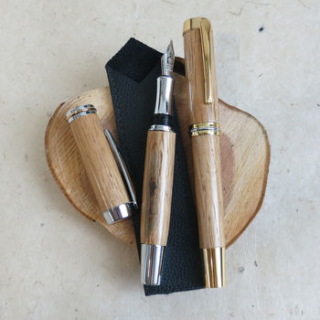 Morley Fountain Pen In Recycled Whiskey Barrel Oak