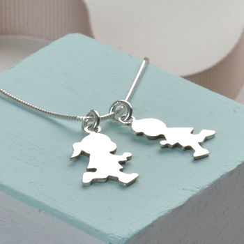 Sterling Silver Family Charm Necklace For Mum