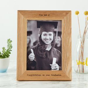 Personalised Oak Graduation Photo Frame - graduation gifts