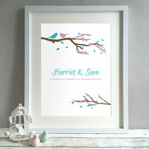 Personalised Birds Wedding Gift Print