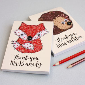 Personalised Embroidered Woodland Animal Notepad
