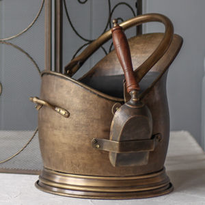 Antique Brass French Coal Bucket With Shovel