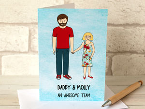 Daddy And Daughter Digital Portrait Father's Day Card