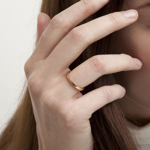 Rose Gold Slim Square Edge Ring - demi fine jewellery