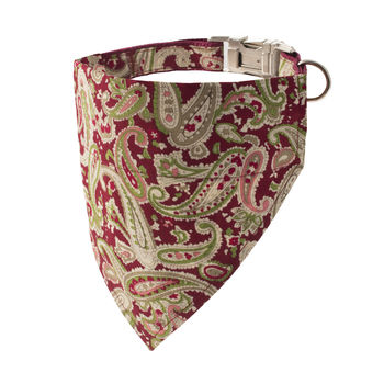 Ruby Red Paisley Bandana Dog Collar