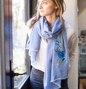 Personalised Faded Blue Cotton Embroidered Flower Scarf - personalised gifts