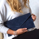 personalised navy blue suede clutch bag