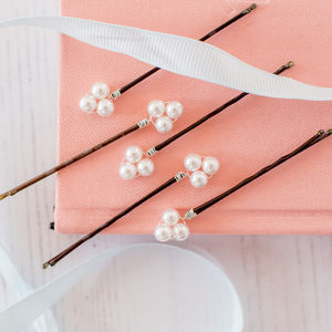 Set Of Five Pearl Cluster Hair Pins