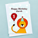 Lion Childrens Birthday Card (supplied with pale blue envelope)