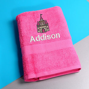 Girl's Personalised Princess Castle Bath Towel - bathtime