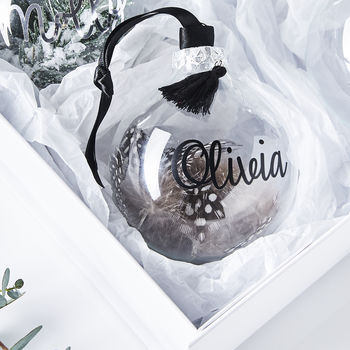 Monochrome Feather Personalised Bauble