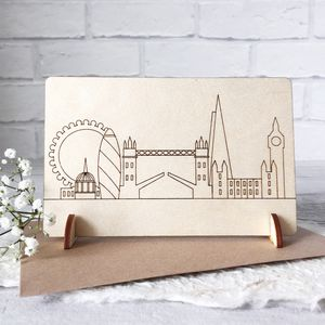 Wooden London Skyline Card - new home cards