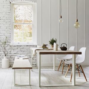 Oak Dining Table With White Square Frame - dining tables