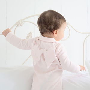 Personalised Angel Wings Sleepsuit Pink - gifts for babies