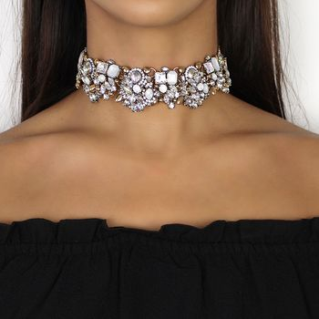 White And Gold Rhinestone Choker Necklace