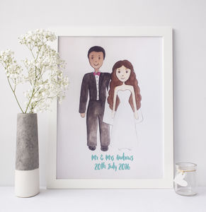 Personalised Watercolour Wedding Portrait - new in home