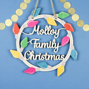 Personalised Christmas Wooden Wreath Retro Fairy Lights