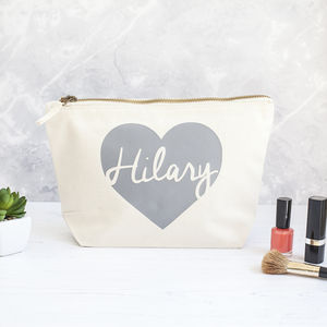 Personalised Heart Make Up Bag - gifts for her