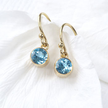 Blue Topaz Earrings In 18ct Gold, December Birthstone