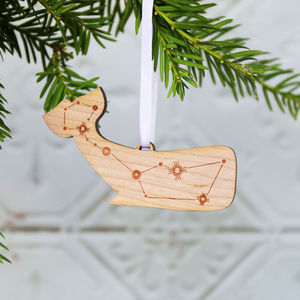 Cetus Whale Constellation Wooden Christmas Decoration