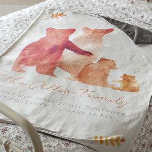 Personalised Bear Family Luxury Blanket - baby's room