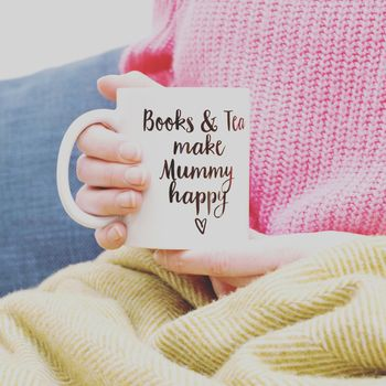 'Books And Tea Make Me Happy' Mug