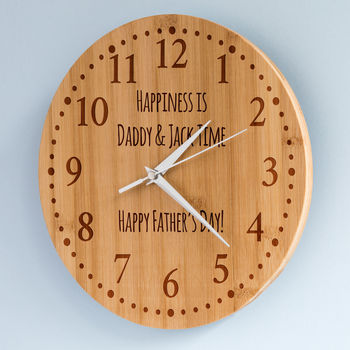 Personalised Father's Day Bamboo Clock