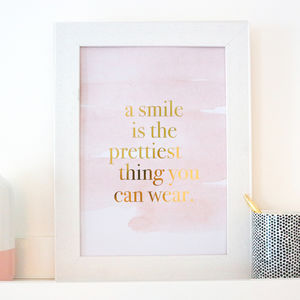Gold Foil And Blush Pink 'A Smile Is' Print - winter sale