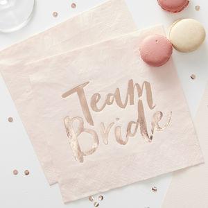 Rose Gold Foiled Team Bride Hen Party Napkins