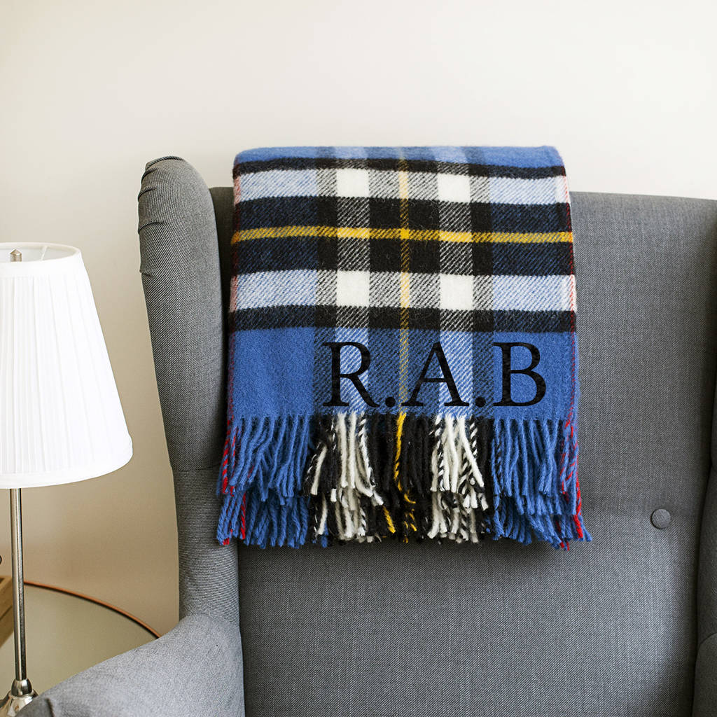 Personalised Blue Check Wool Blanket