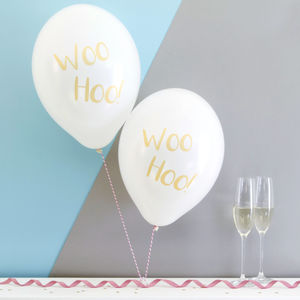 Wedding Balloons 'Woo Hoo' Metallic Printed Pack Of Six