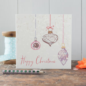 Pack Of Illustrated Bauble Christmas Cards - cards & wrap