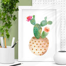 Decorative Potted Cactus Illustration Print