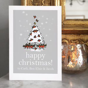Personalised 'Tree Of Singing Robins' Christmas Card - personalised cards