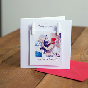 Personalised Peg Photo Message Christmas Card - for stationery seekers