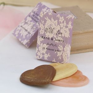 Personalised Lilac Lace Wedding Favour Gift Boxes