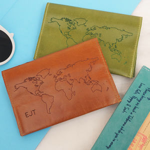 Personalised Leather Passport Holder With World Map - accessories