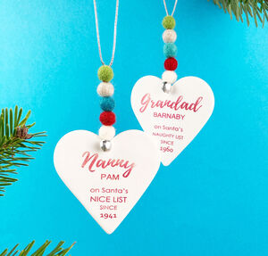 Personalised 'Naughty Or Nice' Christmas Decoration