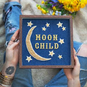 'Moon Child' Framed Embroidered Wall Art - textile art