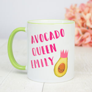 Personalised 'Avocado Queen' Name Mug