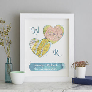 Two Personalised Map Hearts Wedding Watercolour - mixed media & collage